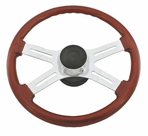 Woody's WP-SWPB9801 Rosewood Chrome Truck Steering Wheel (Beautiful African Hardwood)