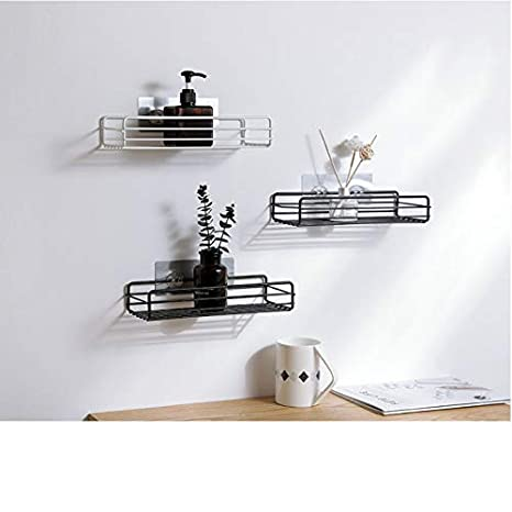 2 Pack Black Bathroom Shelf Organizer Shower Caddy Kitchen Storage Rack Wall Mounted No Drilling Display Bottles on Shelves