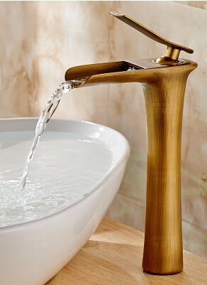 Bronze Long U-Enjoy Brass Material Unique Top Quality Design Hot and Cold Single Lever Bathroom Waterfall Faucet Sink Mixer (Bronze Short)