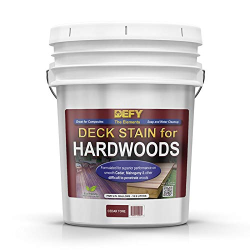 DEFY 5 Gallon Semi-Transparent Deck Stain for Hardwoods, Cedar Tone