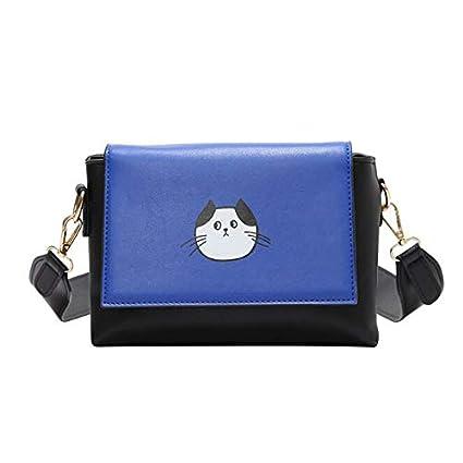 WMHXF Bolso, Coreano Imprimir Gato pequeño Cuadrado Bolsa Personalidad Colegiala Mensajero Bolso Bolso de Hombro