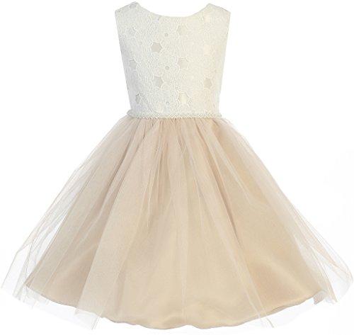- Flower Girl Classy Two-Tone Knee Length Dress for Big Girl Taupe 20 J36.85K