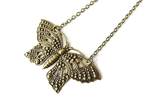 Ornate Antique Brass Butterfly Pendant Necklace for Women | Handcrafted Jewellery Gifts (Grace Pendant Necklace)