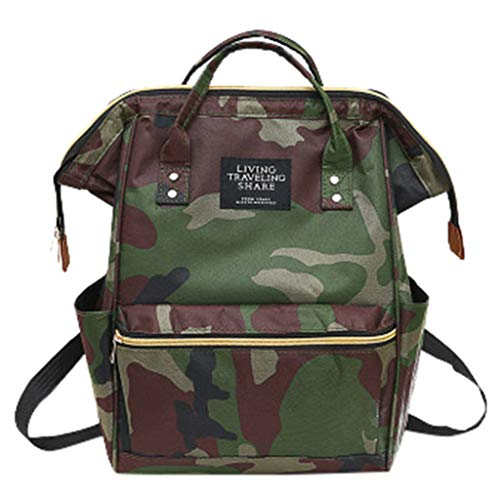 Unisex Classic School Backpack for Men Women College High School Student Bag Fashion Outdoor Travel Bag Casual Canvas Zipper Shoulder Bag (Camouflage) ()