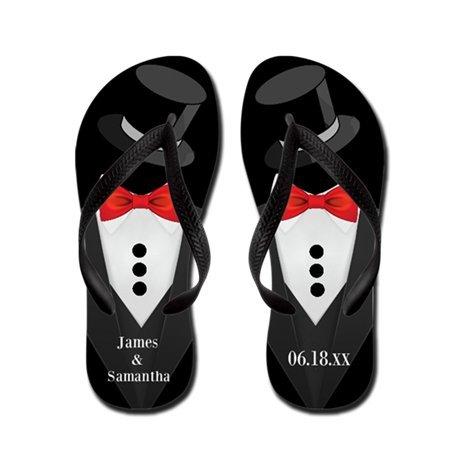 Lplpol Groom Tuxedo Custom Flip Flops for Kids Adult Beach Sandals Pool Shoes Party Slippers Black Pink Blue Belt for Chosen ()