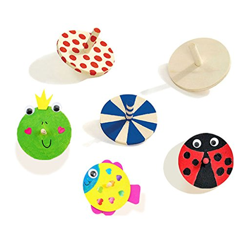 MagiDeal Creative Unfinished Wood Wooden Spinning Top for Children Kids Toys Painting Art Pack of 5 ()