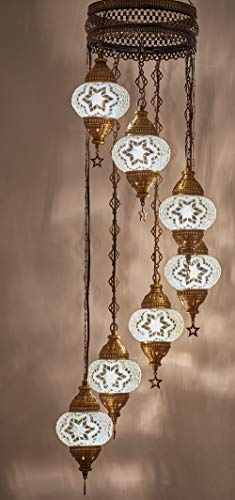 (Choose from 12 Designs) Turkish Moroccan Mosaic Glass Chandelier Lights Hanging Ceiling Lamps (5 Globes 7