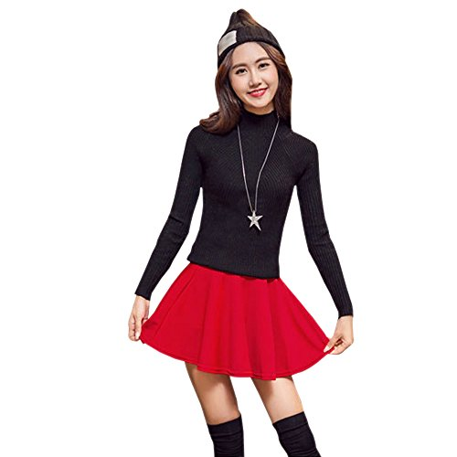 03c6c2ea03 Durable Modelando BOZEVON Falda plisada de cintura elástica color sólido  más el tamaño falda corta para
