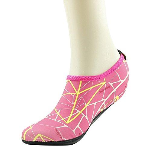 Home Slipper Barfuß Wasser Haut Schuhe Aqua Neopren Socken für Strand Pool Sand Swim Surf Yoga Schnorcheln 005 Gedruckt Blau und Rosa
