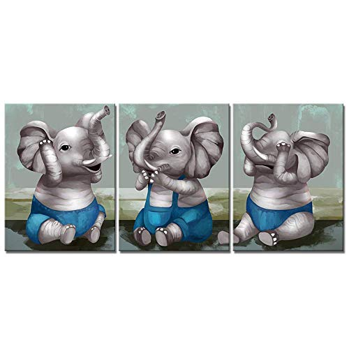 VividHome 3 Piece Cute Baby Elephant Canvas Painting Picture Prints of Elephants No Evil Listen, See and Speak Educational Poster Modern Animals Artwork for Kids Room Nursery Decoration 12x16inchx3pcs (Hear No Evil Posters)