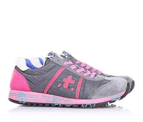 PREMIATA - Chaussure à lacets grise et rose, en suède et nylon doux et transpirant, avec lacets roses, caractérisée par une inter-semelle imprimée, Fille, Filles, Femme, Femmes