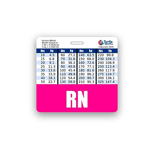 RN Badge Buddy Horizontal w/ Height & Weight Conversion Charts (Pink)