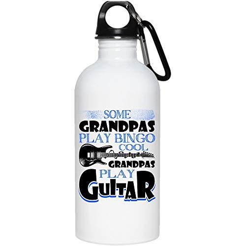 Some Grandpas Play Bingo 20 oz Stainless Steel Bottle,Cool Grandpas Play Guitar Outdoor Sports Water Bottle (Stainless Steel Water Bottle - White) by Crazy Fan Shop