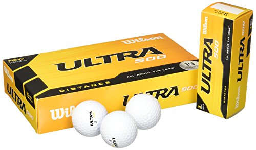(Wilson Ultra 500 Distance Golf Ball (15-Pack), White)
