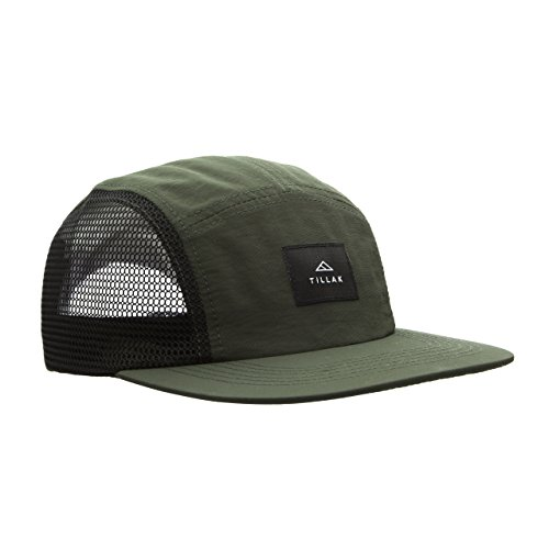 Tillak Wallowa Trail Hat, a Lightweight Nylon and Mesh 5 Panel Cap (Fir Green)