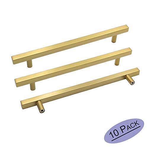 goldenwarm Brushed Brass Cabinet Bar Handle Pull Cabinet Door Handles 10Pack - LS1212GD192 Gold Furniture Hardware Brushed Brass Finish Kitchen Cabinet Hardware 7-1/2in Hole Centers