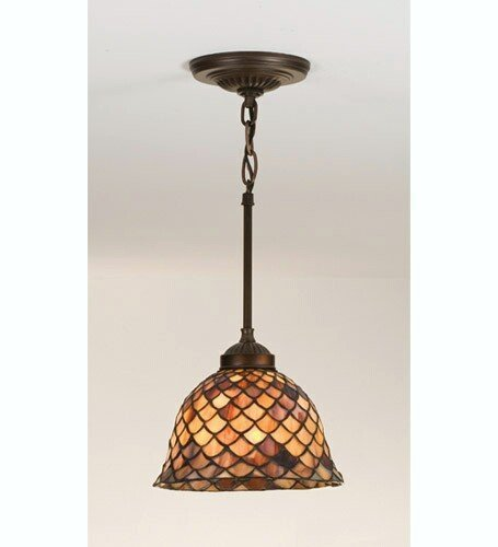 Meyda Home Indoor Decorative 8''W Tiffany Fishscale Mini Pendant-Paba by Meyda