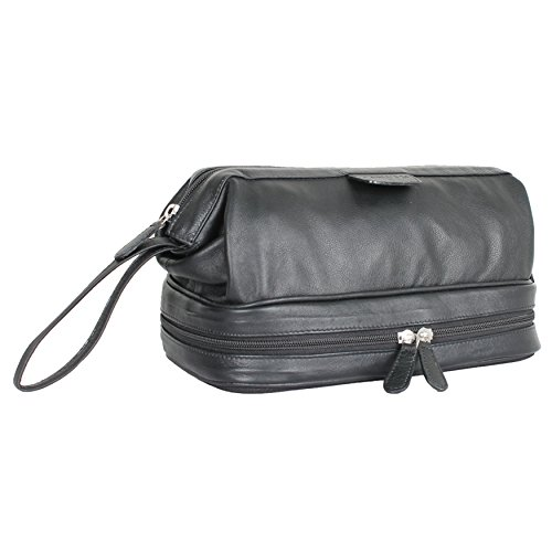 -  Carlucci Leather Deluxe Leather Toiletry Bag with Zip Drop Bottom, Rich Genuine Cowhide, 2 Big Compartments, Heavy Duty Zippers, Pull Handle, Leather Tabs. In Black