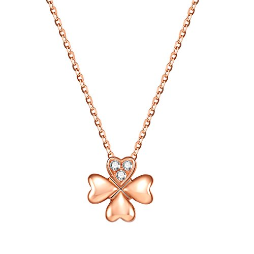 Carleen 18K Solid Rose Gold Clover Flower Necklace 0.03cttw Diamond Pendant Necklaces for Women Girls, 18