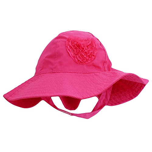 Little Me Sun Hat with Heart and Chin Strap For Baby Girls Solid Pink 3-9 Months