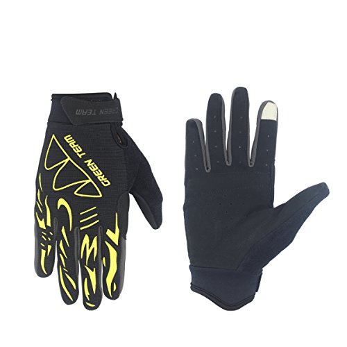 SHARBAY Unisex Touch Screen Cycling Gloves Full Finger Biking Gloves Road Racing Bicycle Gloves MTB DH Downhill Off Road Working Out Glove (Yellow, L)