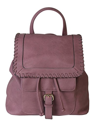 rimen-co-pu-leather-casual-backpack-solid-color-women-with-drawstring-closure-ob-2509-purple