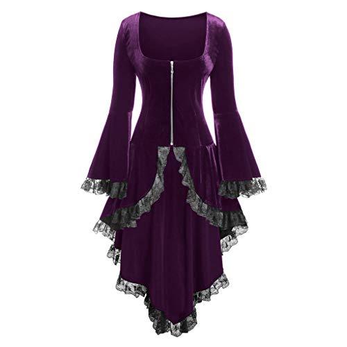 Thin Outwear Steampunk Victorian Swallow Tail Women VigorY Asymmetrical Hem Long Trench Long Trench Coat Jacket Purple