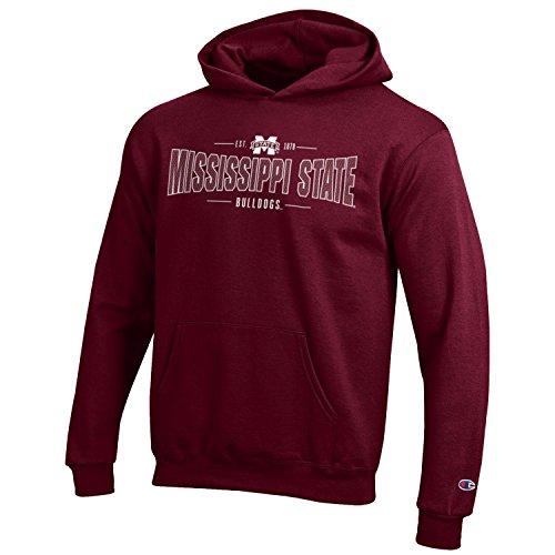 Champion NCAA Youth Long Sleeve Fleece Hoodie Boy's Collegiate Sweatshirt Mississippi State Bulldogs Medium