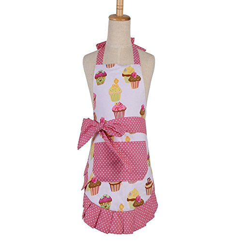FirstKitchen Apron for Women with Pockets, Extra Long Ties, Cupcake Apron, Perfect for Kitchen Cooking, Baking and Gardening, 29 x 21-inch(Adult Women)