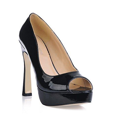 produits cuir femmes les rugueux en bureau à automne chaussures travail OL les noir poisson haut Black chaussures sur verni pointe talon étanche Cliquez le nouveaux HwOXnE