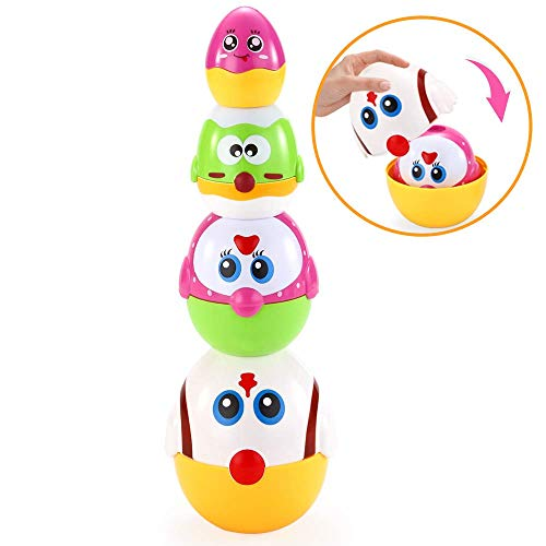 VATOS Nesting Plastic Eggs Toy, Eggs Stacking Toy, Stacker Toys for 18 Months+ Baby Infant Toddler, Educational Toys for 1.5+ Years Old Girl and Boys, Cute Chicken Family Style Baby Toddler Toy