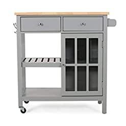 Kitchen Christopher Knight Home Spark Contemporary Kitchen Cart with Wheels, Gray and Natural modern kitchen islands and carts