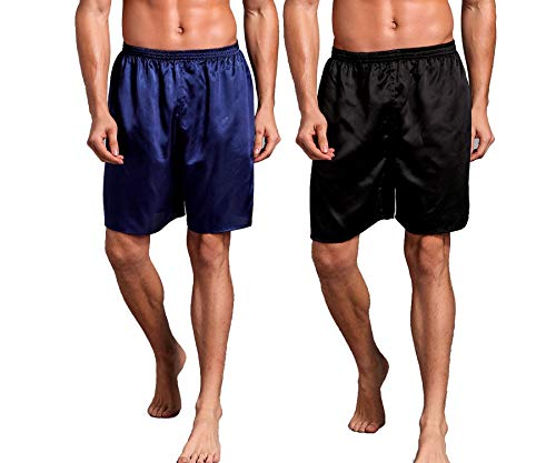 Admireme Mens Satin Boxer Shorts Silk Pajamas Shorts Sleepwear Boxers Underwear Beach Shorts (2 Pack(Black+Blue), X-Large(Waist 36