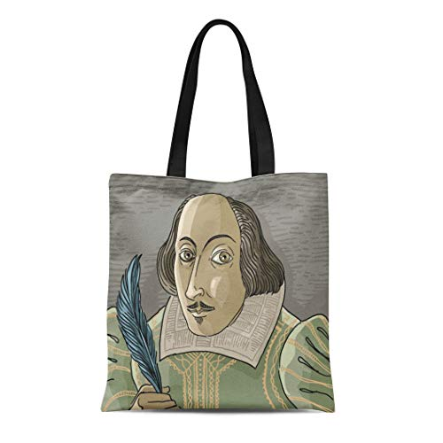 (Semtomn Canvas Tote Bag Shoulder Bags Author Shakespeare Great English Writer Artist Bard Cartoon Drama Women's Handle Shoulder Tote Shopper Handbag)