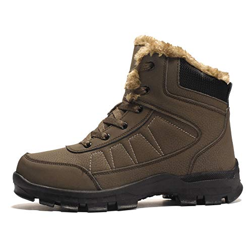 Image of AIRIKE Mens Hiking Boots Snow Boots Waterproof Insulated with Fur Antislip Work Boots