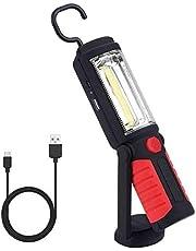 Led-werklamp, zaklamp, superheldere COB-led, campinglantaarn, werkverlichting met standaard, aanpasbare haak voor het ophangen en magnetische basis voor thuis, garage, DIY