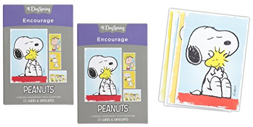 Set of 2 DaySpring Peanuts 'Encourage' Greeting Card Packs 24 Cards with Envelopes (Charlie Pack)