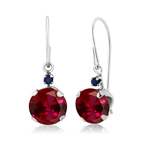 Gem Stone King 2.04 Ct Round Red Created Ruby Blue Sapphire 14K White Gold - Sapphire Ruby Earrings Pink