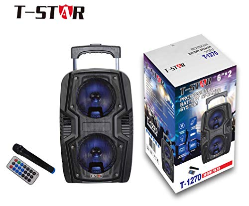 """Dual 6"""" PA System Portable Rechargable Battery Wireless Speaker Party Indoor & Outdoor Karaoke Bluetooth DJ PA LED Battery Wireless Mic & Remote Control Loud FM Redio Brand T-STAR"""