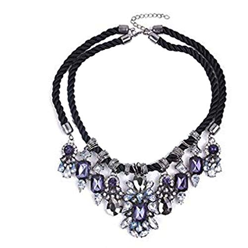 Chunky Black Rope Dangle Rhinestone Faceted Charms Flower Bib Choker Necklace
