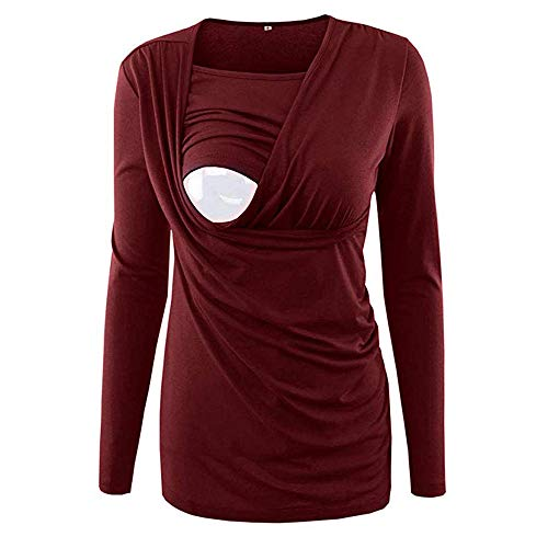 Women Maternity Nursing Tee Shirt Double Layer Button Side Shirred Breastfeeding Tops (Red -1, M)