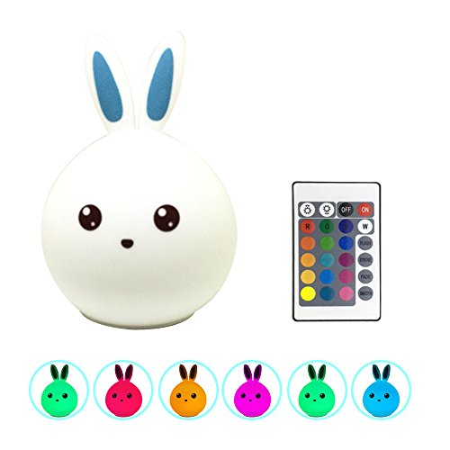 Remote-Bunny-Night-Lamp-Sensitive-Tap-Control-USB-Rechargeable-Children-Night-Light-with-Warm-White-Single-Color-7-Color-Breathing-ModesCut-Toy-for-Baby-Children-Bedroom--Blue