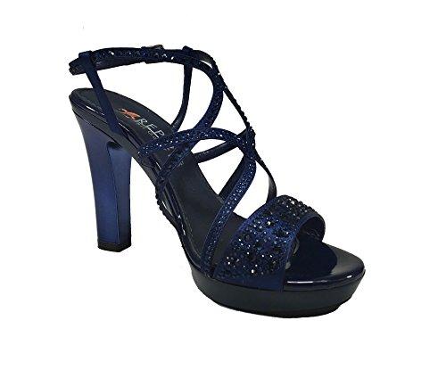 Pelle Vera Made Donna Italy Con In Sandalo Elegante Tacco Blu 6420 qIHfwHP