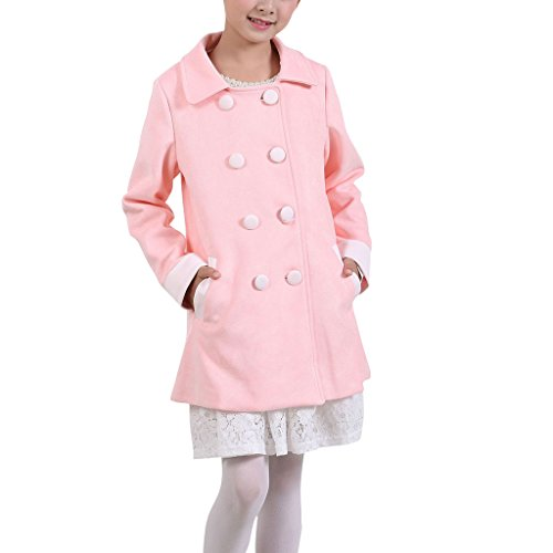 Price comparison product image YISUMEI Big Girls Coats Thicker Wool Hooded Lace Double Breasted Pink L