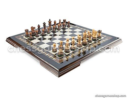 - Handmade Wooden Chess Set Dubrovnik Zagreb Burnt Black - Wooden Chessmen, Mosaic Luxury Chess Board