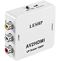 LESHP AV to HDMI Converter Adapter 1080P with USB Cable for TV/ PC/VCR / Blue-Ray DVD Players Supporting PAL/ NTSC Etc.
