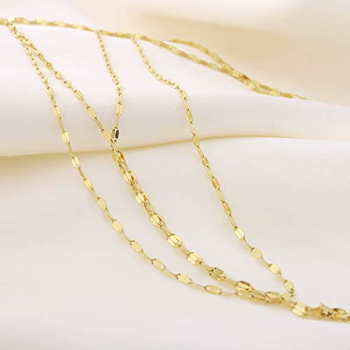 14k Yellow Gold Fancy Link Chain Double Layered Lariat Necklace, 17'' by Beauniq (Image #4)