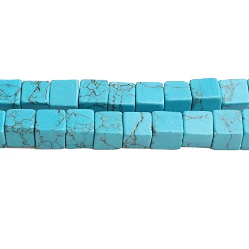 Square Stone Connector Beads for Jewelry Beading Imitation Blue Turquoise 6mm Cube Loose Beads One Strand 15 Inch Apx 62 - Turquoise Beads Imitation