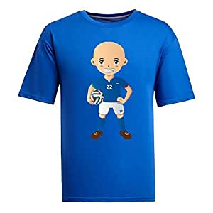 Custom Mens Cotton Short Sleeve Round Neck T-shirt,2014 Brazil FIFA World Cup UP71 blue