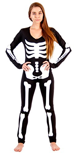 Spandex Costumes Bodysuit (Sexy Lady Skeleton Body Suit Spandex Costume (Adult Large))